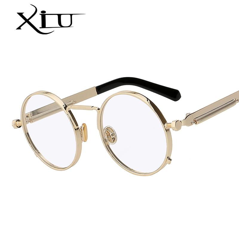 00bee86b5b6e5 XIU Homens Steampunk Mulheres óculos de Sol De Metal Redondo Retro Óculos  De Sol Da Marca