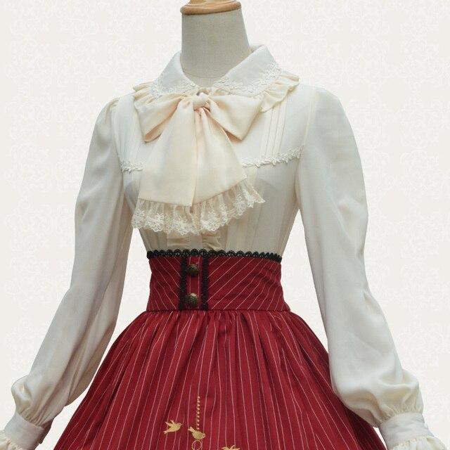 Lolita Chemise Soie Noirblancbeige Femmes Mousseline Vintage De 8n0OwPk