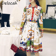 Delocah Autumn Women Dress Runway Fashion Designer Long Sleeve Gorgeous Crystal Beading Vintage Printed Pleated Dresses
