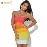 women orange ombre dress gradually shift color off the shoulder strapless bandage dress sexy short party dress HL8810