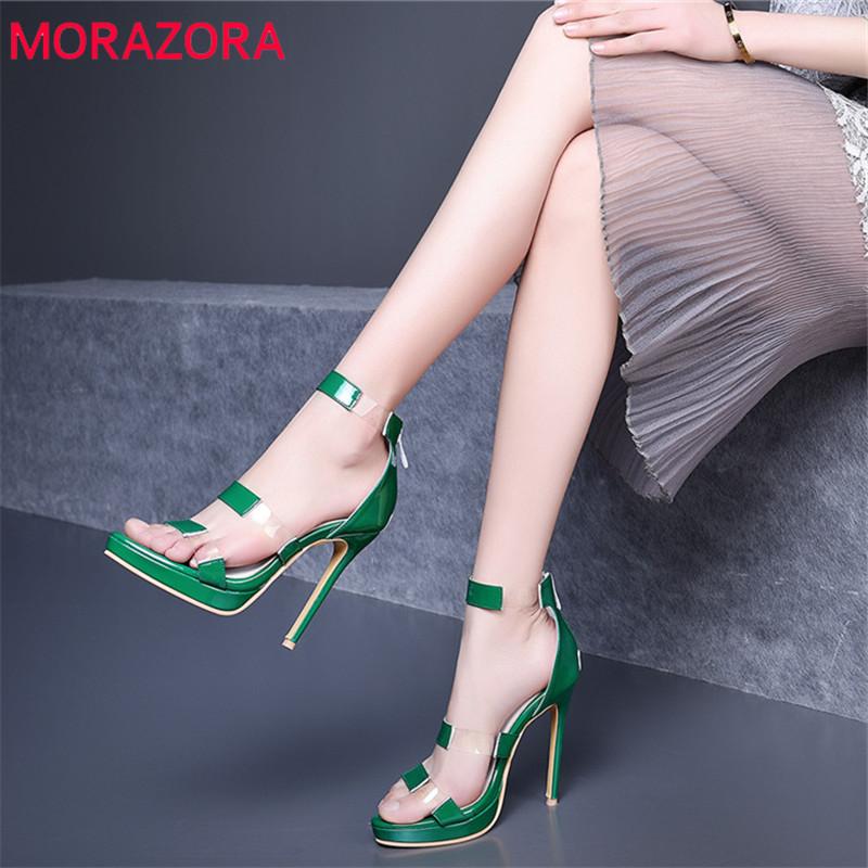MORAZORA 2019 large size 52 women sandals sexy stiletto high heels shoes woman party wedding shoes ladies platform shoes female