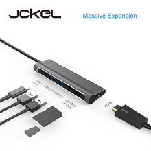 Jckel USB C HUB 3.1 to HDMI SD/TF Card Reader USB Type C Charging Port 2 USB 3.0 HUB Adapter for MacBook Pro Type C HUB focal on wall frame iw 1003 rough