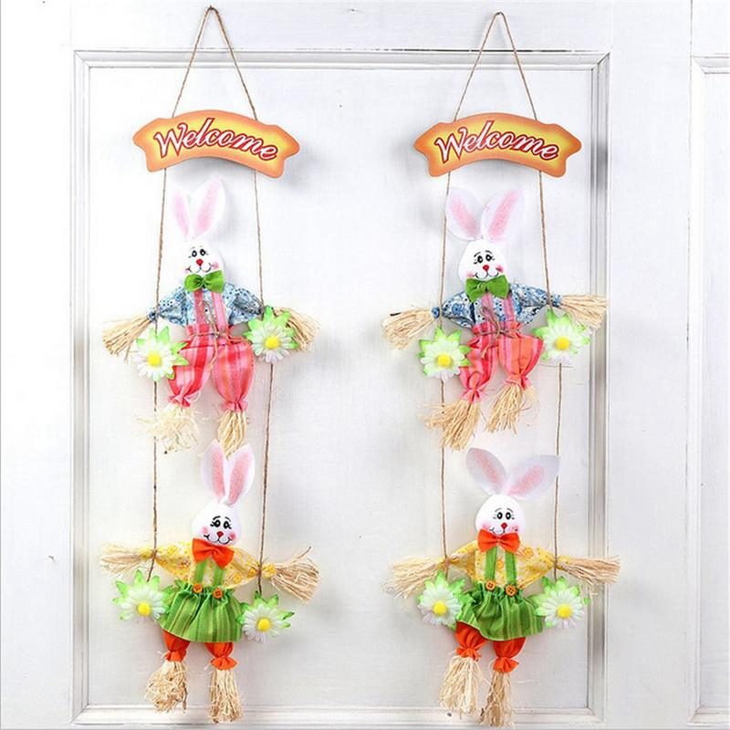 Image 2 - Hot Double Bunny Easter Pendant Pendant Home Shop Decoration Door Ornaments 2Pcs-in Figurines & Miniatures from Home & Garden