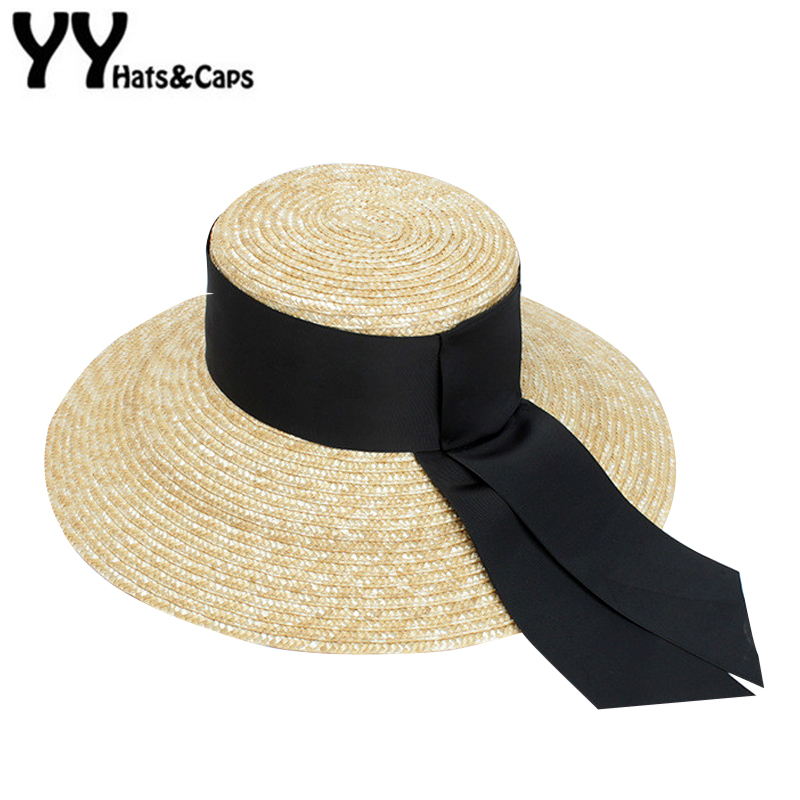 ae70d433a1a7b Fashion Summer Hat Women SUPER Wide Black Ribbon Straw Caps Sun Visor Hats  Beach Sunhats With 13cm wide Brim Lady Retro YY18062