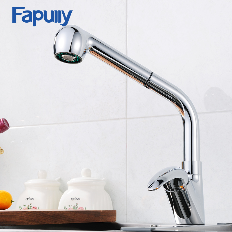 Fapully Pull out Flexible Kitchen Tap Brass Kitchen Faucet Spray Head Sink Tap Cold and Hot Single Handle Faucets 669-33C