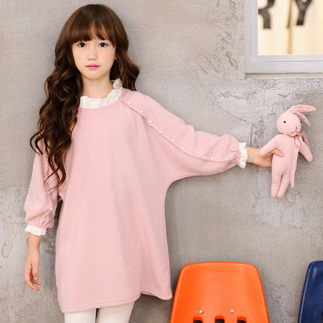 765bbc568 2017 Girl Autumn loose Dress 100% Cotton Kids Pearls Long Sleeves ...