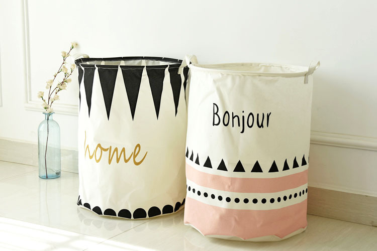 new arrived fashion design round laundry basket foldable storage barrel 50cm*40cm qute printed linen basket free shippinh