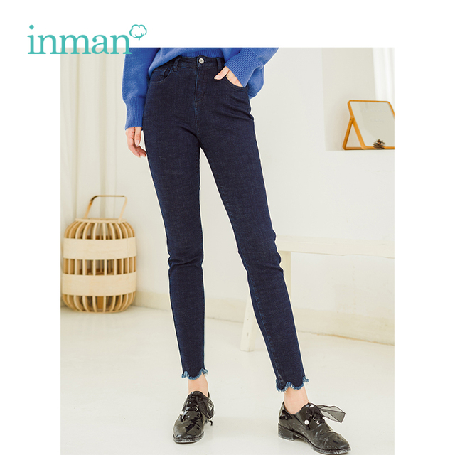 6729455f8847 INMAN 2018 Winter Mid Waist Show Fitness Fur Side Pencil Leg Women Jeans  Vans Inside Pants