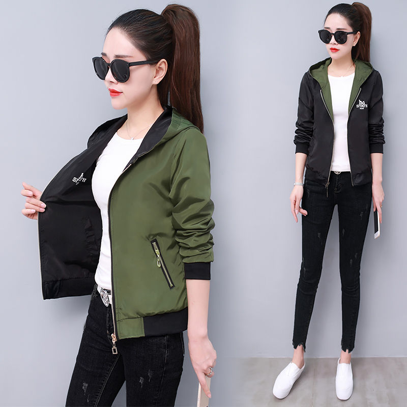 Jacket Women Coats Windbreak Hooded Spring Long-Sleeve Autumn Casual Solid