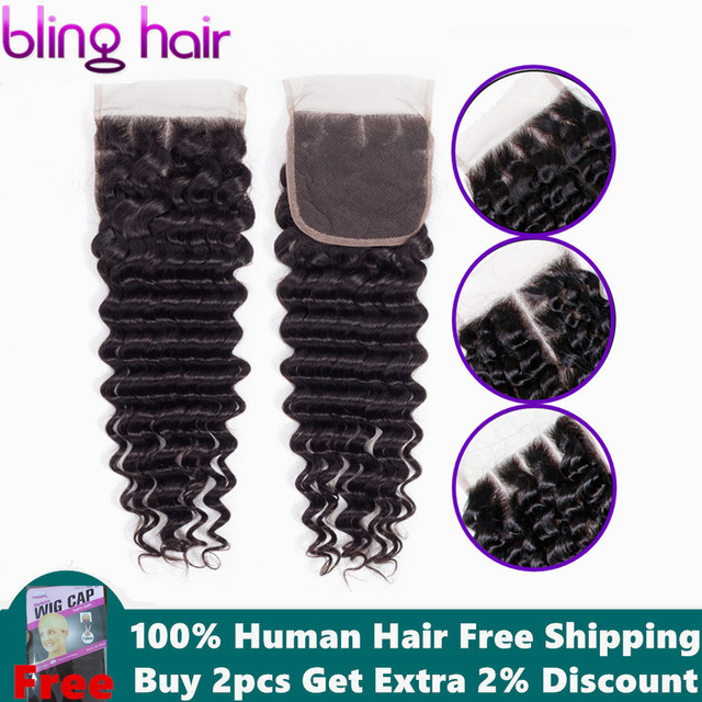 Bling Hair Deep Wave Lace Closure 4*4 Free/Middle/Three Part 100% Remy Human Hair Brazilian Closure Natural Color Free Shipping