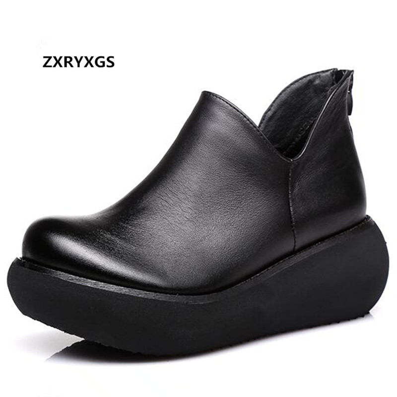 ZXRYXGS Brand Shoes Platform Wedges Women Fashion Shoes New 2019 Spring Elegant Comfort Casual Shoes Woman