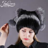 Joolscana winter beanies women hat real fur cap 100% real rabbit with fox fur pompom lovely ear gift for little girl