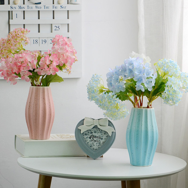 Modern Ceramic Decoration Vase Stripe Tabletop Flower Vases For