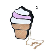 Cute Cartoon Women bag Ice Cream Cupcake Shape Mini Shoulder Bag Metal Chain Mobile Keys Coin crossbody Messenger Bag(China)