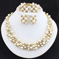 2015 New Fashion Imitation Pearl Necklace  Dubai Gold Plated African Beads Costume Acessories Bridal wedding Jewelry Sets