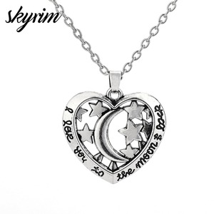 Skyrim Fashion Jewelry Gift Wicca Necklace Link Chain custom Necklace I Love You To The Moon&Back Hollow Star&Moon Heart Charm