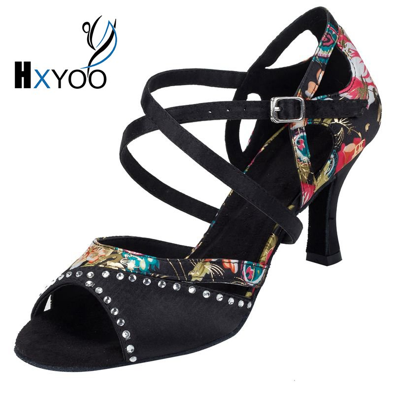 HXYOO 2017 Rhinestone Salsa Shoes For Dance Latin Women Ballroom Shoes Sandal Ladies Satin Soft Sole Floral Black WK021