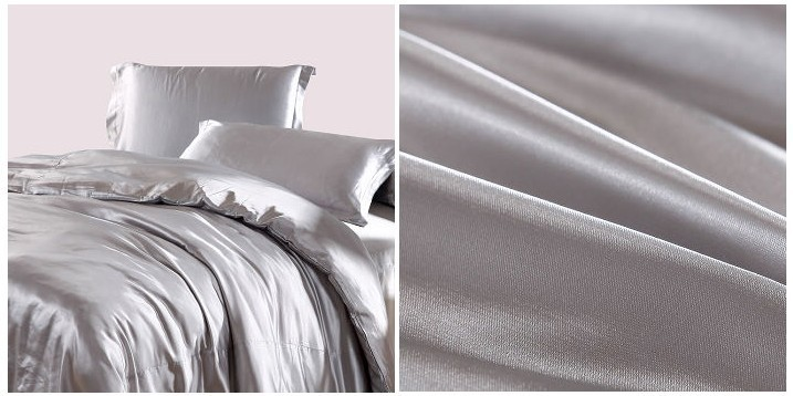 Aliexpress.com : Buy Silver Duvet Cover Bedding Sets Grey Silk Satin Super  King Size Queen Double Fitted Bed Sheets Bedspreads Quilt Doona Linen 6pcs  From ...