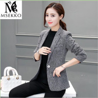 2016 New Women S Spring Autumn Coat Jackets Suit Casual One Button Blazer Of Broken Gray