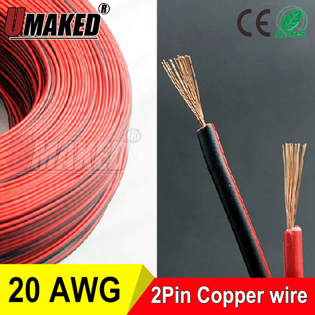 Aliexpress buy copper 20awg 2 pin red black cable pvc copper 20awg 2 pin red black cable pvc insulated wire 20 awg wire greentooth Choice Image