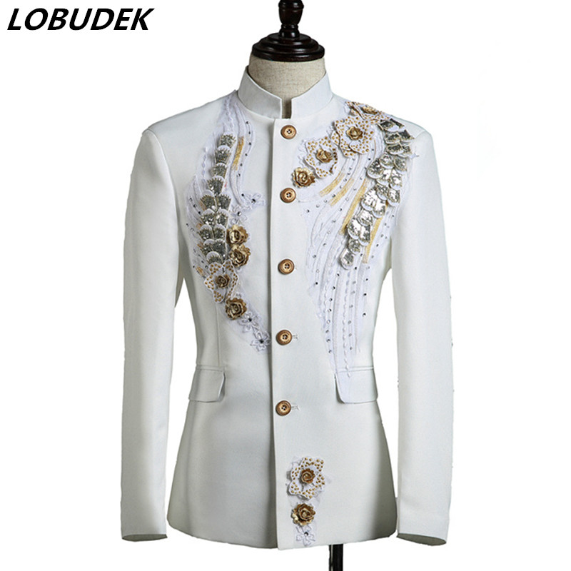 (jacket+pants) New Men Suits Dancer Singer Dress Performance Show Nightclub Blazer Slim Wedding Prom Party Groom Host Costume