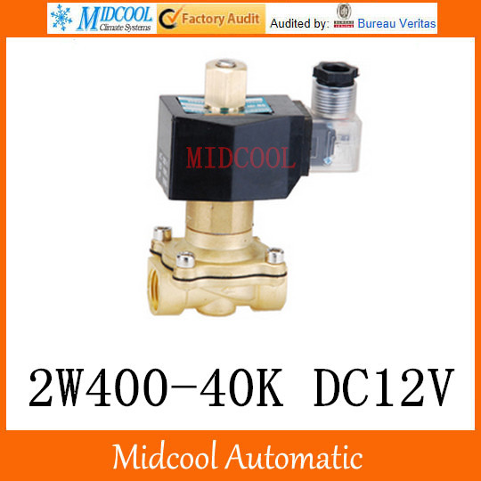 Brass Solenoid Valve 2W400-40K DC12V  port 1'/2  2Position 2Way Normally closed for Water Air Oil free shipping brass solenoid valve 2w400 40k12v 1 2 2position 2way normally closed for water air oil 2015