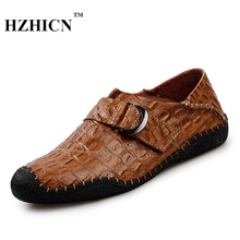Retro Split Leather Shoes for Men Casual Crocodile Striae Loafers 100% Handmade High Quality Fashion Oxfords Luxury Moccasins