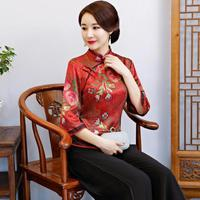 Print Floral Oriental Women Classic Blouse Vintage Mandarin Collar Tops Elegant Office Business Clothes Chinese Style Shirt