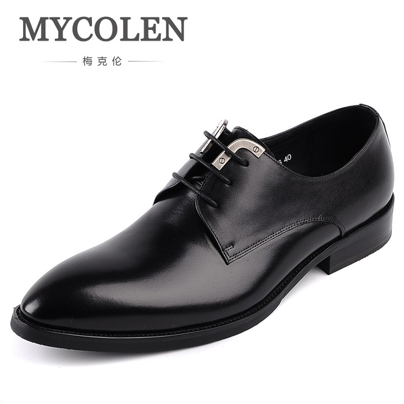 MYCOLEN Genuine Leather Men Dress Shoes Party Wedding Male Business Shoes Comfortable Pointed Toe Oxfords Flats Shoes pjcmg spring autumn men s genuine leather pointed toe slip on flats dress oxfords business office wedding for men flats shoes