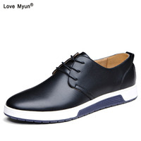 New 2019 Men Casual Shoes Leather Summer Breathable Holes Luxury Brand Flat Shoes for Men Drop Shipping 668