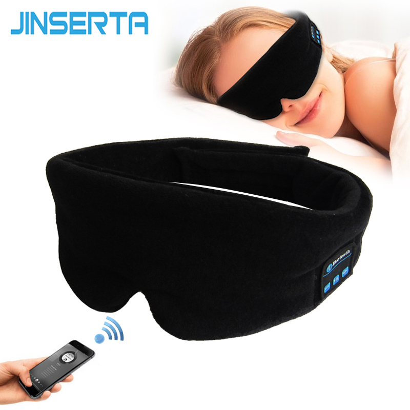 JINSERTA Wireless Stereo Bluetooth Earphone Sleep Mask Phone Headband Sleep Soft Earphones For Sleeping Eye Mask Music Headset