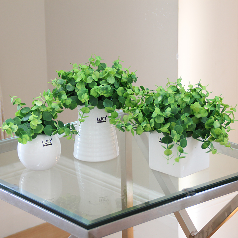 Creative Artificial Potted plants set Simulation clover flowers green grass Small bonsai gardening pot culture office Home Decor-in Artificial & Dried Flowers from Home & Garden    1