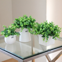 Creative Artificial Potted plants set Simulation clover flowers green grass Small bonsai gardening pot culture office Home Decor