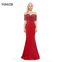 b70feeffd4d06 Robe de soiree 2019 Lüks Kırmızı Abiye Uzun Mermaid İnciler Boncuklu Püskül  Kadınlar Örgün Balo gece elbisesi abendkleider