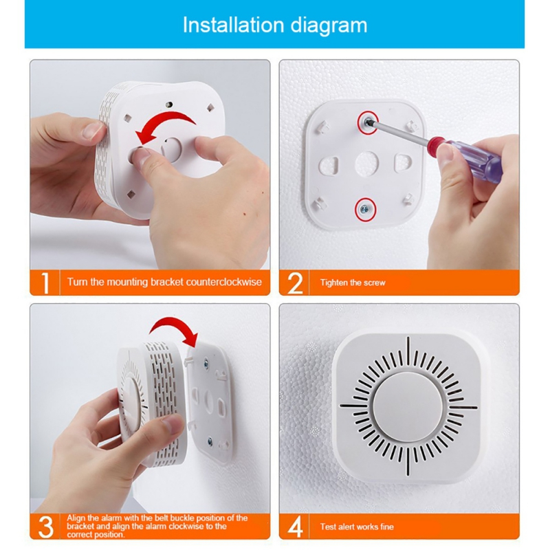 For School Factory Hotel Security Alarm System Fire Detection Smoke Detector Sound And Light Alarm Battery Operated