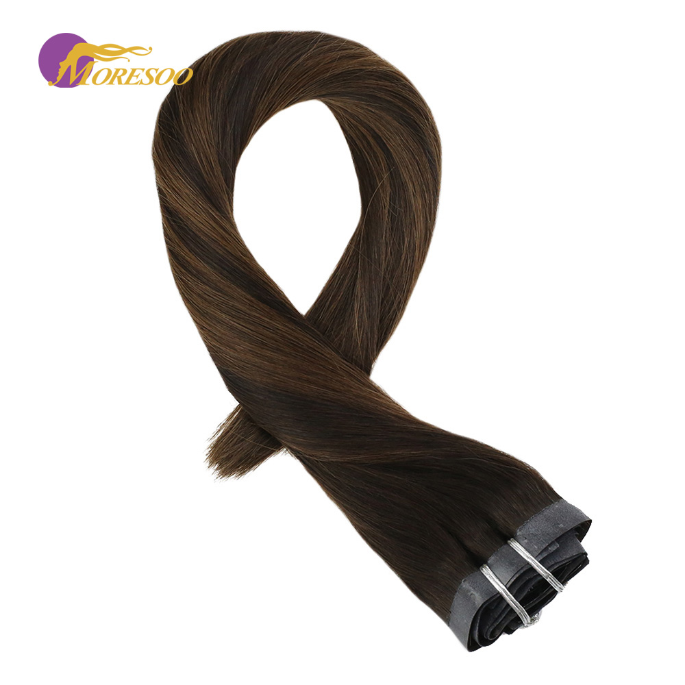 Moresoo Seamless PU Clip In Human Hair Extension Darkest Brown Mix With Brown #2/6/2 Machine Remy Brazilian Hair 7PCS 100G
