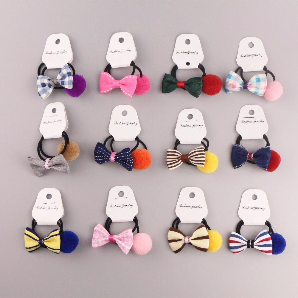 Mix 6pcs  Cute Candy Small Bow Rubber Band Elastic Hair Band Little Girls' Scrunchy Ponytail Hair Accessories