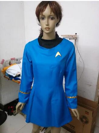 Hot Movie Star Trek Blue Red Yellow Three Color Uniform Dress The Female Women's Duty Uniform Cosplay Costume