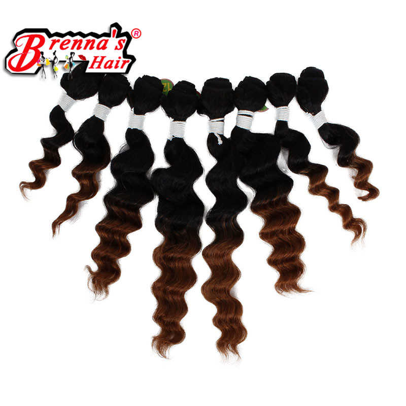 (8pieces/lot) Curlkalon kinky curly hair weaving ombre brown/burgundy two tone colors 8-20 inch soft and natural synthetic hair