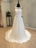 New Style Long Wedding Dress 2018 O Neck Sleeveless Floor Length Beaded Lace Bridal Gowns Vestido