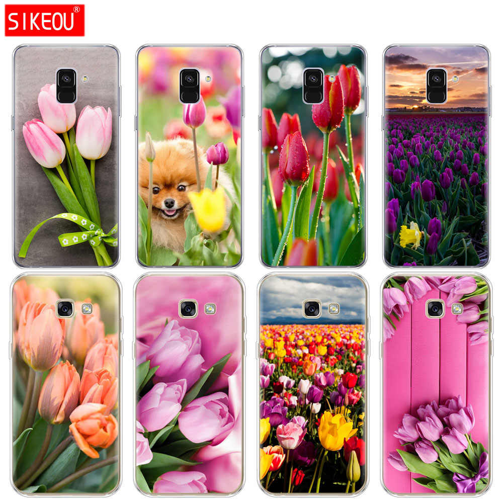 Silicone phone case cover for Samsung Galaxy A6 A8 2018 A3 A310 A5 A510 A7 2016 2017 Tulips flower Spring field Red pink  purple