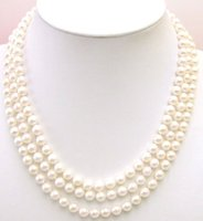 AAA 6 7mm natural Saltwater Round Pearl 3 Strings necklace Sterling Silver S925 clasp 5229 Wholesale/retail Free shipping