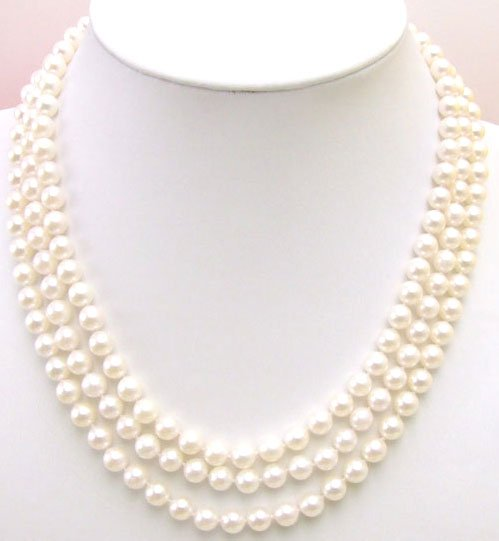 AAA 6-7mm naturel eau salée ronde perle 3 cordes collier en argent Sterling S925 fermoir-5229 gros/détail livraison gratuite