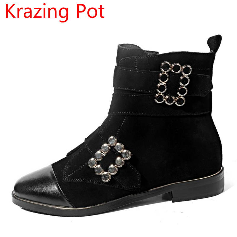 2018 Hot Sale Genuine Leather Large Size Thick Heel Round Toe Metal Decoration Women Ankle Boots Handsome Retro Winter Boots L08 fashion genuine leather chelsea boots handmade keep warm winter boots round toe thick heels concise ankle boots for women l08