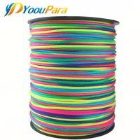 Paracord corda de arco-íris 1000ft 7 fios de nylon corda paraquedas corda para acampamento ao ar livre de emergência ou bracelete diy