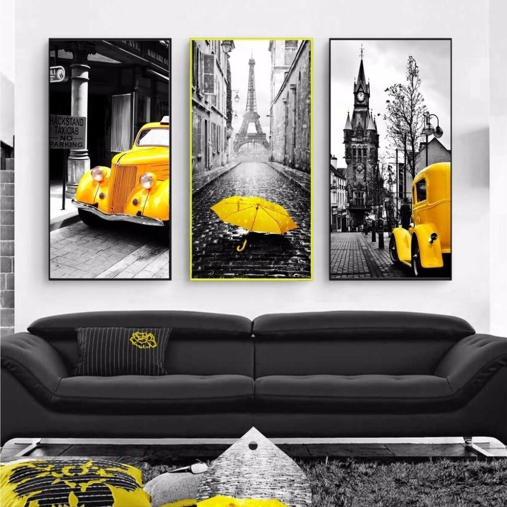 Modern Home Decor Car and Umbrella Wall Art Nordic Paris ...