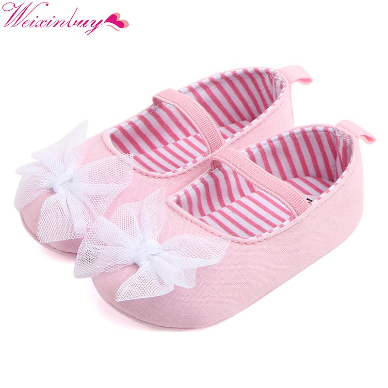 Cotton Fabric Baby Girl Shoes Newborn Lace Bow Knot Elastic Band Shallow First Walkers Infant Soft Anti-slip Prewalker 0-18M