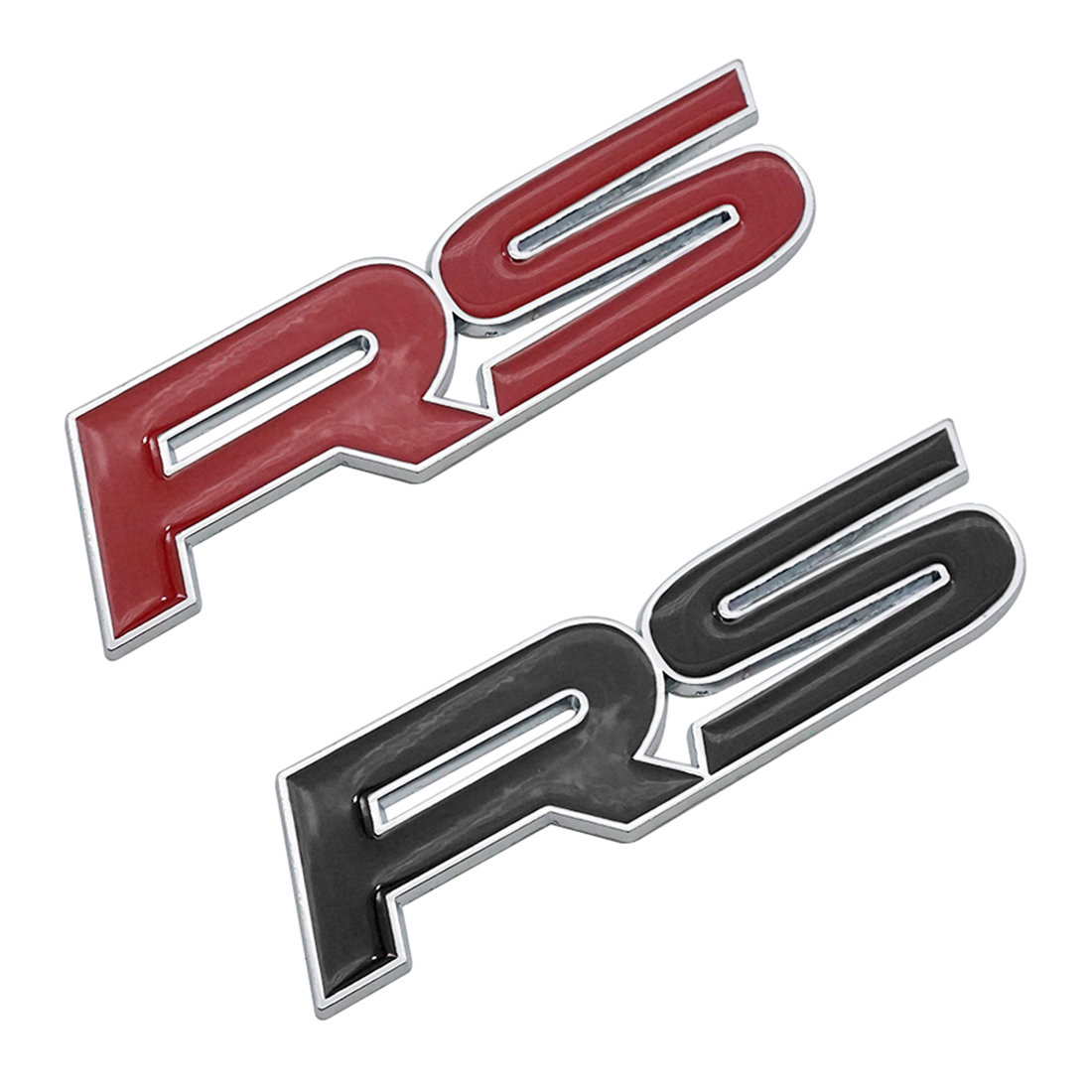 Dewtreetali Metal RS Emblem Badge Car Styling Sticker for Focus Chevrolet Cruze Kia Sportage Skoda Octavia Mazda VW Hyundai Opel 3d ss car front grille emblem badge stickers accessories styling for jaguar honda chevrolet camaro cruze malibu sail captiva kia