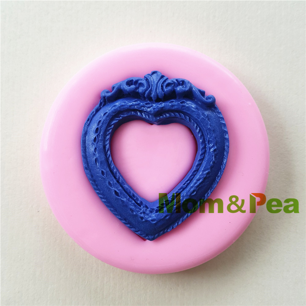 Mom&Pea 0994 Free Shipping Heart Shaped Frame Silicone Mold Cake Decoration Fondant Cake 3D Mold Food Grade image