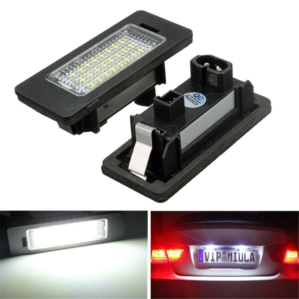 2x For BMW E-marked OBC Error Free 24 SMD LED License Number Plate Light Lamp For BMW E81 E82 E90 E91 E92 E93 E60 E61 E39 X1/E84 2pcs lot 24 smd car led license plate light lamp error free canbus function white 6000k for bmw e39 e60 e61 e70 e82 e90 e92